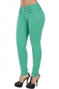 Womens Elastic Plain Buttons Slimming Jeans Green
