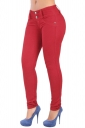 Womens Elastic Plain Buttons Slimming Jeans Red