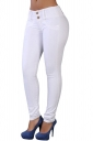 Womens Elastic Plain Buttons Slimming Jeans White