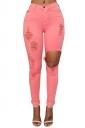 Womens Fashion Plain Ripped High Waist Jeans Watermelon Red