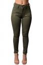 Womens Chic High Waist Zipper Plain Jeans Army Green
