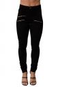 Womens Chic High Waist Zipper Plain Jeans Black