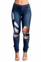Womens Slimming Ripped Cut Out Denim Jeans Navy Blue