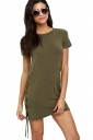Womens Sexy Cross Lace-up Side Short Sleeve Shift Dress Army Green