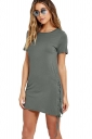 Womens Sexy Cross Lace-up Side Short Sleeve Plain Shift Dress Gray