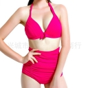 Womens Sexy Halter Top&High Waist Ruched Bottom Bikini Set Rose Red