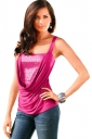 Womens Sexy Sequined Patchwork Ruched Camisole Top Rose Red