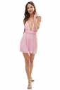 Womens Sexy Multi-way Lace Up Plain Mini Shift Dress Pink