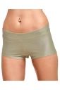 Womens Liquid Plain Sports Mini Shorts Khaki