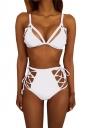 Womens Sexy Cutout Top&High Waist Lace-up Bottom Bikini Set White