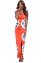 Womens Side Slit Printed Cutout Back Maxi Tank Dress Orange