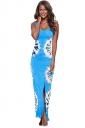 Womens Side Slit Printed Cutout Back Maxi Tank Dress Light Blue