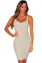 Womens Zipper Detail Sleeveless Bodycon Tank Dress Gray