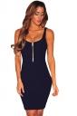 Womens Zipper Detail Sleeveless Bodycon Tank Dress Navy Blue
