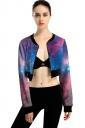Womens Zip Up Galaxy Printed Long Sleeve Crop Jacket Purple