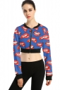 Womens Zip Up Mouth Printed Long Sleeve Crop Jacket Red