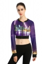 Womens Lightning Printed Zip Up Long Sleeve Short Jacket Purple