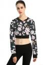 Womens Long Sleeve Zipper Floral Printed Crop Jacket Black