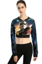 Womens Long Sleeve Zipper Star Wars Printed Crop Jacket Orange