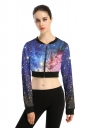 Womens Long Sleeve Zipper Galaxy Printed Crop Jacket Rose Red
