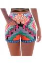 Womens High Waist Exotic Geometric Printed Mini Shorts Pink