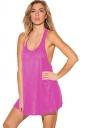 Womens Plain U Neck Sleeveless Loose Tank Top Pink