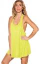 Womens Plain U Neck Sleeveless Loose Tank Top Yellow