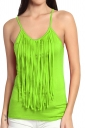 Womens Fringed Sleeveless Plain Camisole Top Green