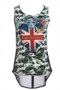 Womens Camouflage the Union Flag Printed Chiffon Tank Top Navy Blue