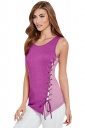 Womens Color Block Lace-up Side Sleeveless Tank Top Purple
