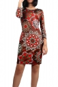 Womens Paper Cutting Printed Crewneck Long Sleeve Midi Dress Brown