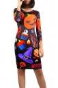 Womens Round Neck Halloween Printed Midi Dress Black