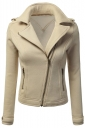 Womens Oblique Zip-up Long Sleeve Lapel Short Rider Jacket Beige White