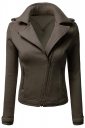 Womens Oblique Zip-up Long Sleeve Lapel Short Rider Jacket Coffee