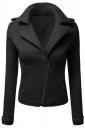 Womens Oblique Zip-up Long Sleeve Lapel Short Rider Jacket Dark Gray