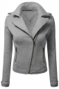 Womens Oblique Zip-up Long Sleeve Lapel Short Rider Jacket Light Gray