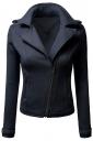 Womens Oblique Zip-up Long Sleeve Lapel Short Rider Jacket Navy Blue