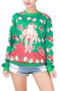 Womens Christmas Muscle Man Printed Pullover Sweatshirt Green