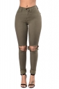 Womens High Waist Cut Out Knee Plain Jeans Army Green