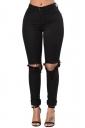 Womens High Waist Cut Out Knee Plain Jeans Black