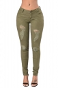 Womens Ripped High Waist Slimming Plain Jeans Army Green