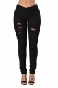 Womens Ripped High Waist Slimming Plain Jeans Black