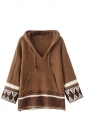 Womens Exotic Patterned Drawstring Hooded Pullover Sweater Coffee