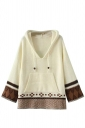 Womens Exotic Patterned Drawstring Hooded Pullover Sweater White