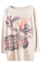 Womens Reindeer Patterned Long Sleeve Pullover Sweater Beige
