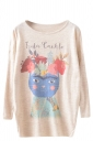 Womens Floral Cat Patterned Long Sleeve Pullover Sweater Beige