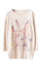 Womens Pretty Rabbit Patterned Long Sleeve Pullover Sweater Beige
