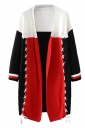 Womens Color Block Cross Lace-up Long Sleeve Cardigan Sweater Red