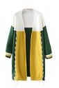 Womens Color Block Cross Lace-up Long Sleeve Cardigan Sweater Yellow