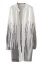 Womens Loose Beaded Color Block Long Sleeve Cardigan Sweater Gray